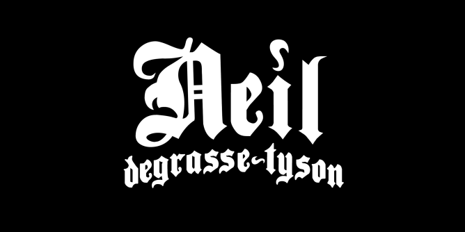 A fake band t-shirt for  Neil deGrasse Tyson: astrophysicist and science communicator, Director of the Hayden Planetarium and associate in the department of astrophysics at the American Museum of Natural History