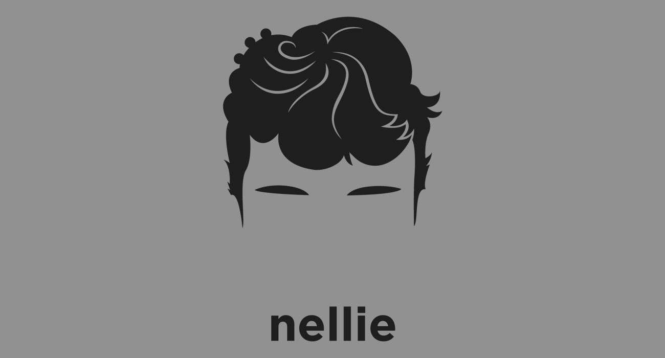 A t-shirt with a minimalist hair based illustration of Nellie Bly: AKA journalist Elizabeth Cochrane Seaman, known for her expose in which she faked insanity to study a mental institution from within, launching a new kind of investigative journalism
