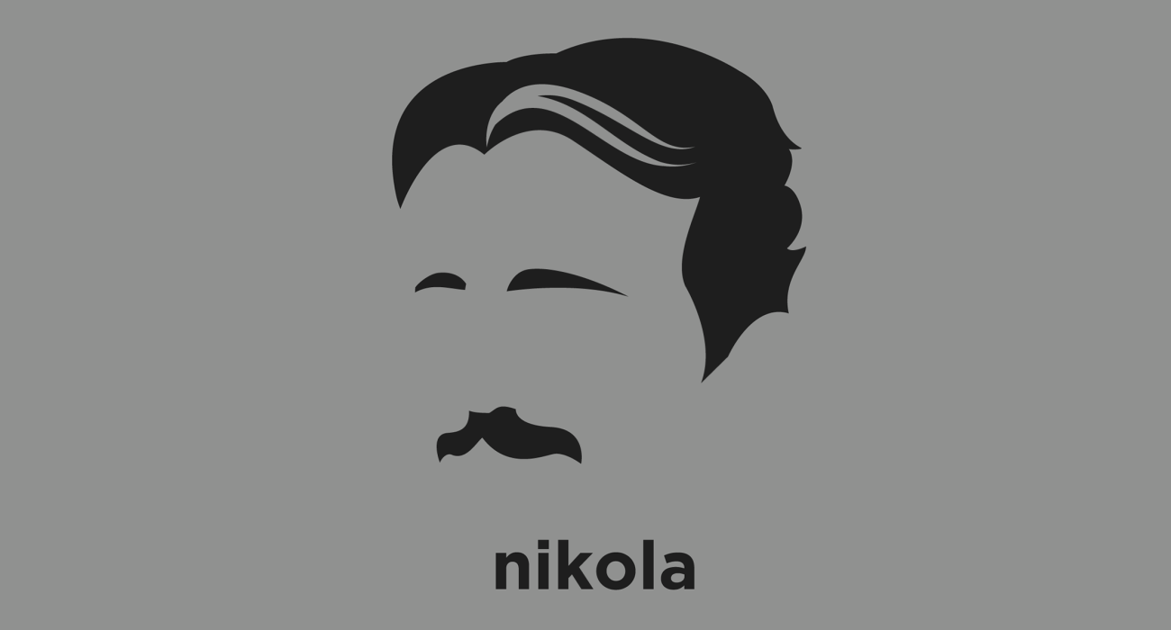 A t-shirt with a minimalist hair based illustration of Nikola Tesla: prototypical mad scientist, best known for his contributions to AC power, high-voltage, high-frequency power experiments