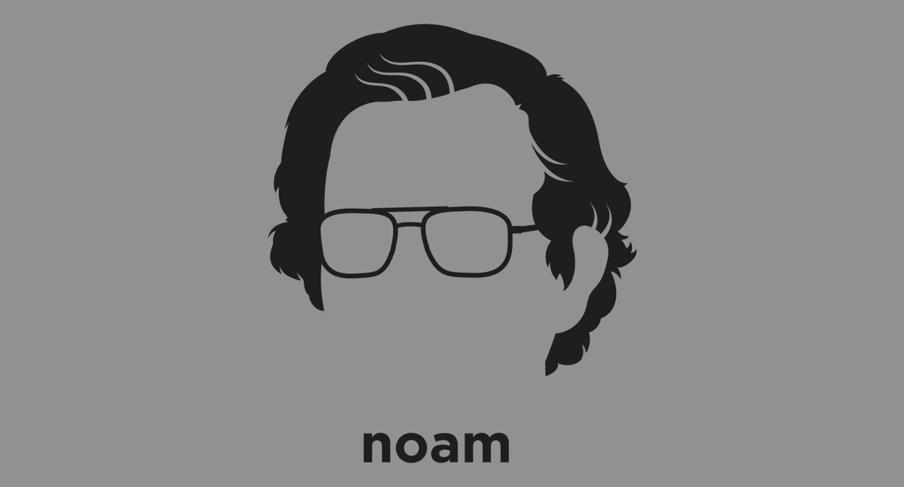 A t-shirt with a minimalist hair based illustration of Noam Chomsky: described as the 'father of modern linguistics', populizer of the concept of 'universal grammar' and a major figure in analytic philosophy