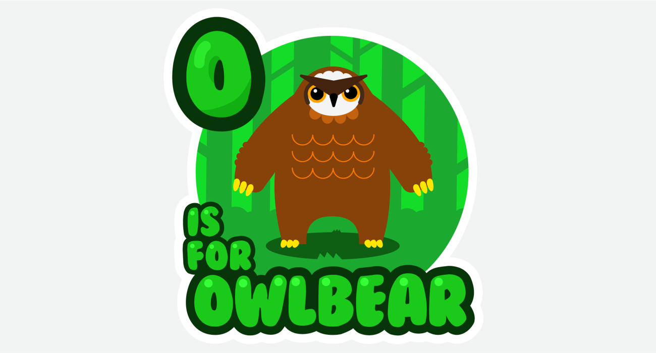 An kid's ABC book style illustration for An adorable forest dwelling critter, half owl, half bear, all cuddles!