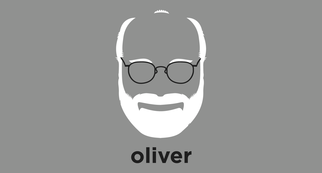 A t-shirt with a minimalist hair based illustration of Oliver Sacks: neurologist and author, famous for writing best-selling case histories of his patients' disorders, with many of his books adapted for film and stage