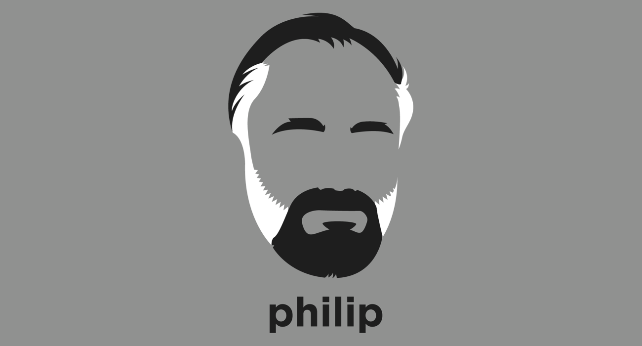 A t-shirt with a minimalist hair based illustration of Philip K. Dick: Science Fiction author whose work explored sociological, political, and metaphysical themes in novels dominated by monopolistic corporations, authoritarian governments, and altered states of mind