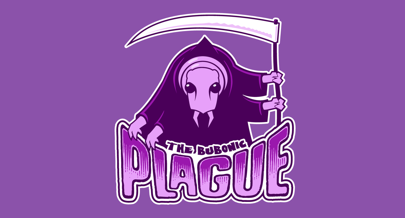 A fake team logo t-shirt featuring  AKA The Black Death, spread primarily by fleas it managed to gank like 40-60% of the population of Europe, so I gotta call this one a win on its behalf. Sorry Europe!