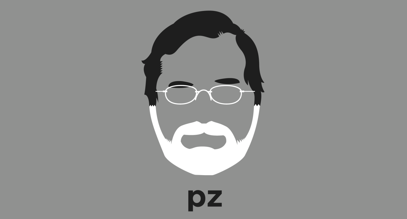 A t-shirt with a minimalist hair based illustration of  PZ Myers: biologist and founder of the hugely popular science blog Pharyngula. He's an outspoken and confrontational critic of the creationist movement
