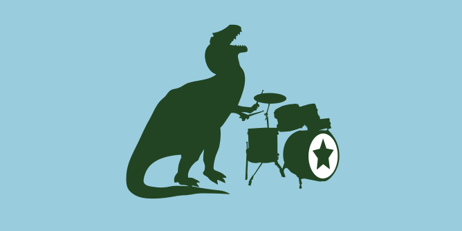 A big mean nasty ol' T-Rex rocking out on the drums. Which modern science tells us is was the most musical of all the dinosaurs. I just really like the idea of him flailing away with his teeny tiny arms