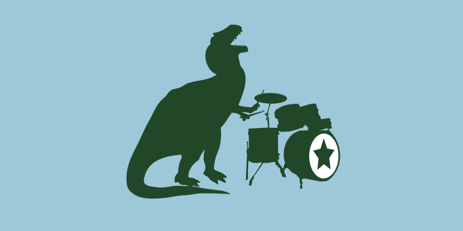 A big mean nasty ol' T-Rex rocking out on the drums. Which modern science tells us is was the most musical of all the dinosaurs. I just really like the idea of him flailing away with his teeny tiny arms.