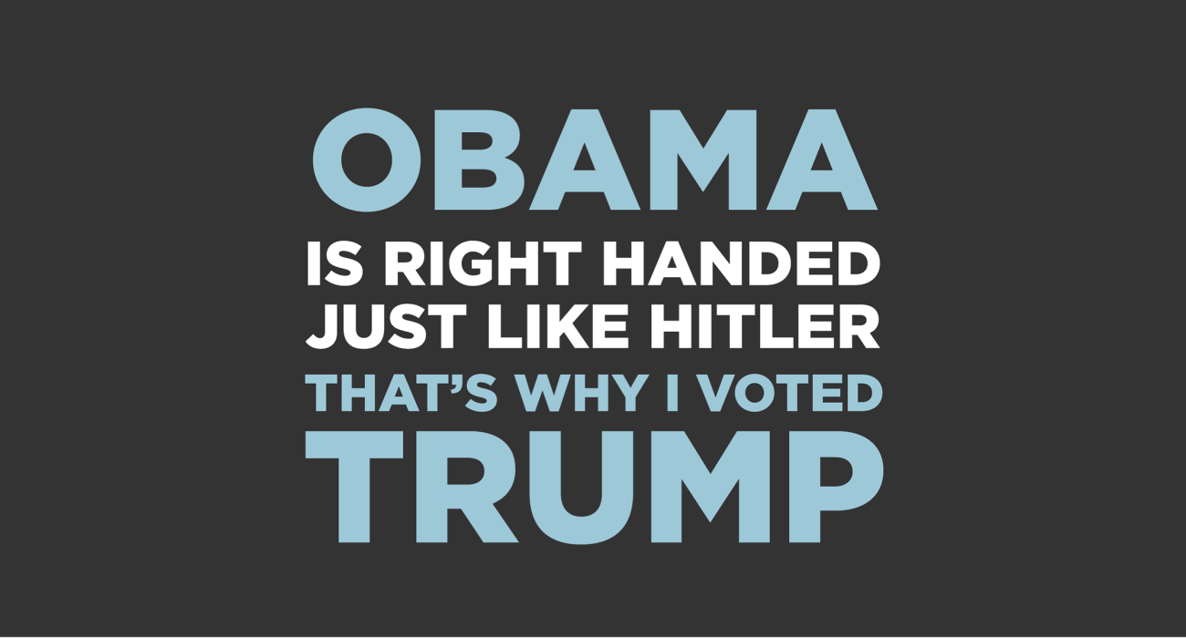Obama is right handed just like hitler, that's why I'm voting tea party