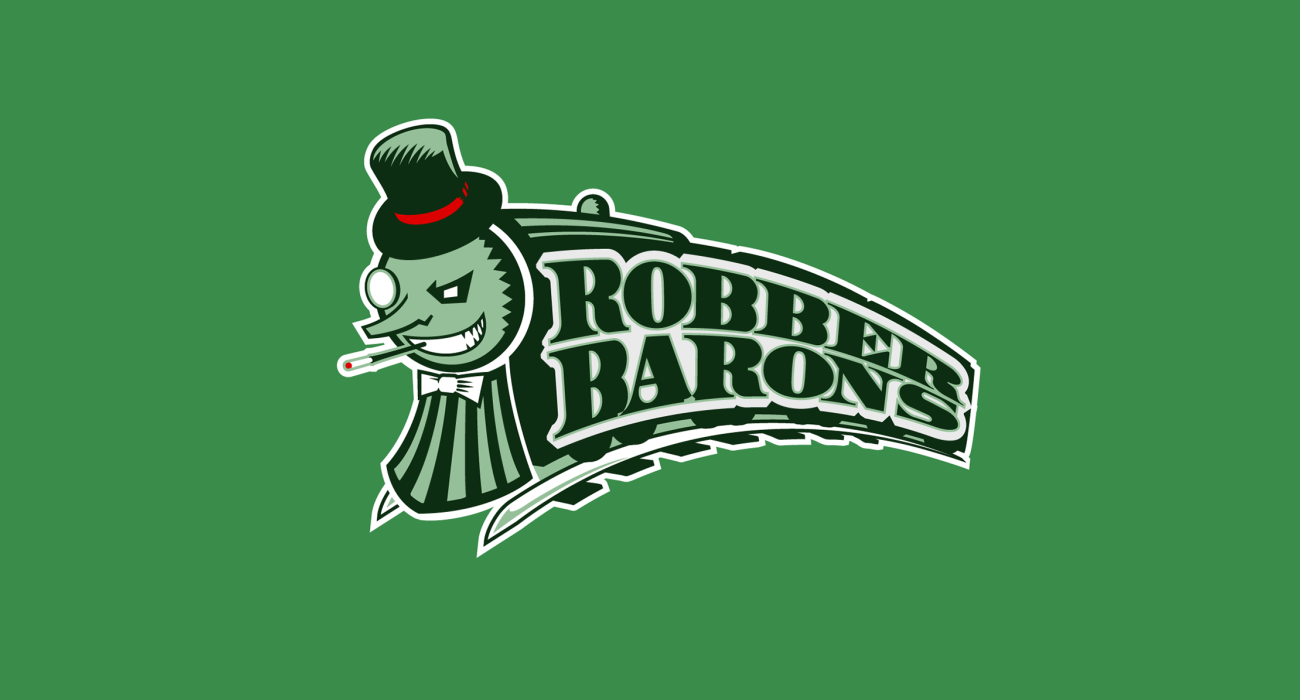 A fake team logo t-shirt featuring  A Mr Moneybags caricature as the face of a train representing robber barons, a derogatory term applied to wealthy and powerful 19th-century American businessmen