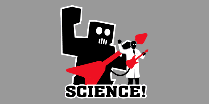 A scientist strumming on a guitar somehow rigged to a giant guitar wielding robot