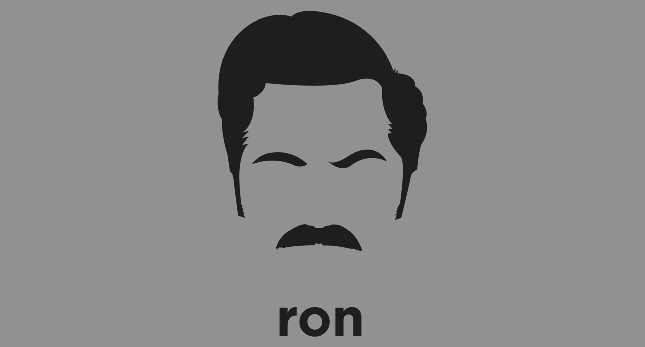 A t-shirt with a minimalist hair based illustration of Ron Swanson would prefer to remain anonymous