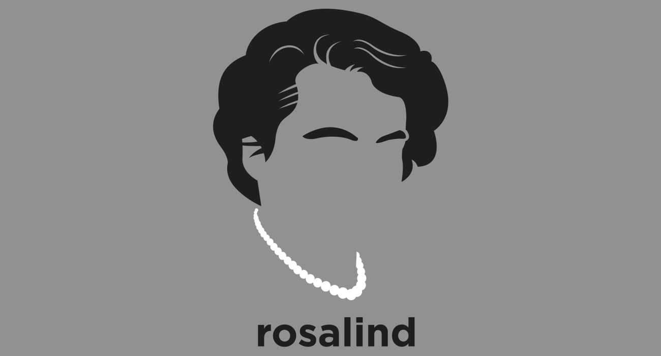 A t-shirt with a minimalist hair based illustration of Rosalind Franklin: biophysicist and X-ray crystallographer who made critical contributions to the understanding of the fine molecular structures of DNA, RNA, viruses, coal, and graphite