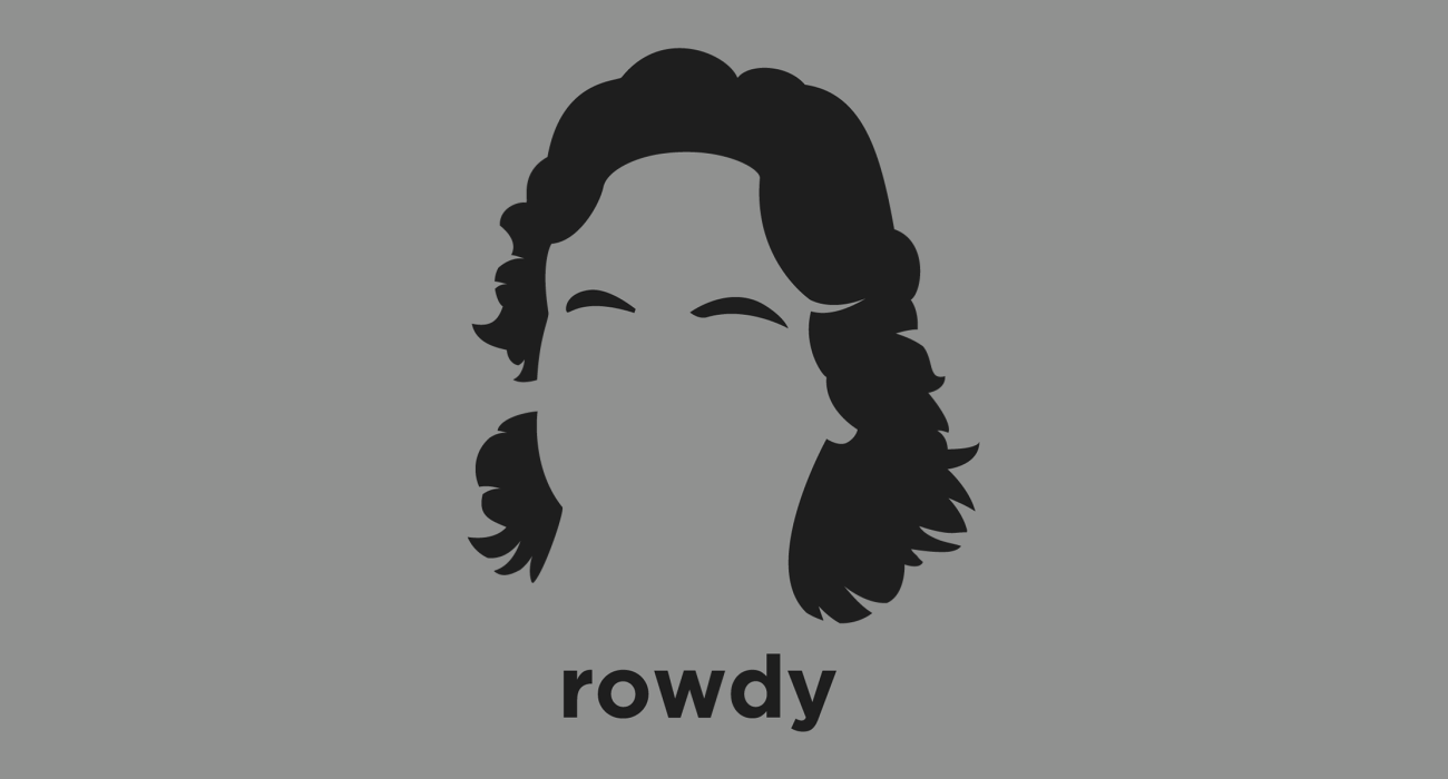 A t-shirt with a minimalist hair based illustration of Rowdy Roddy Piper: Canadian retired professional wrestler, film actor, and podcast host known for his signature kilt and bagpipe entrance music, and rowdy antics