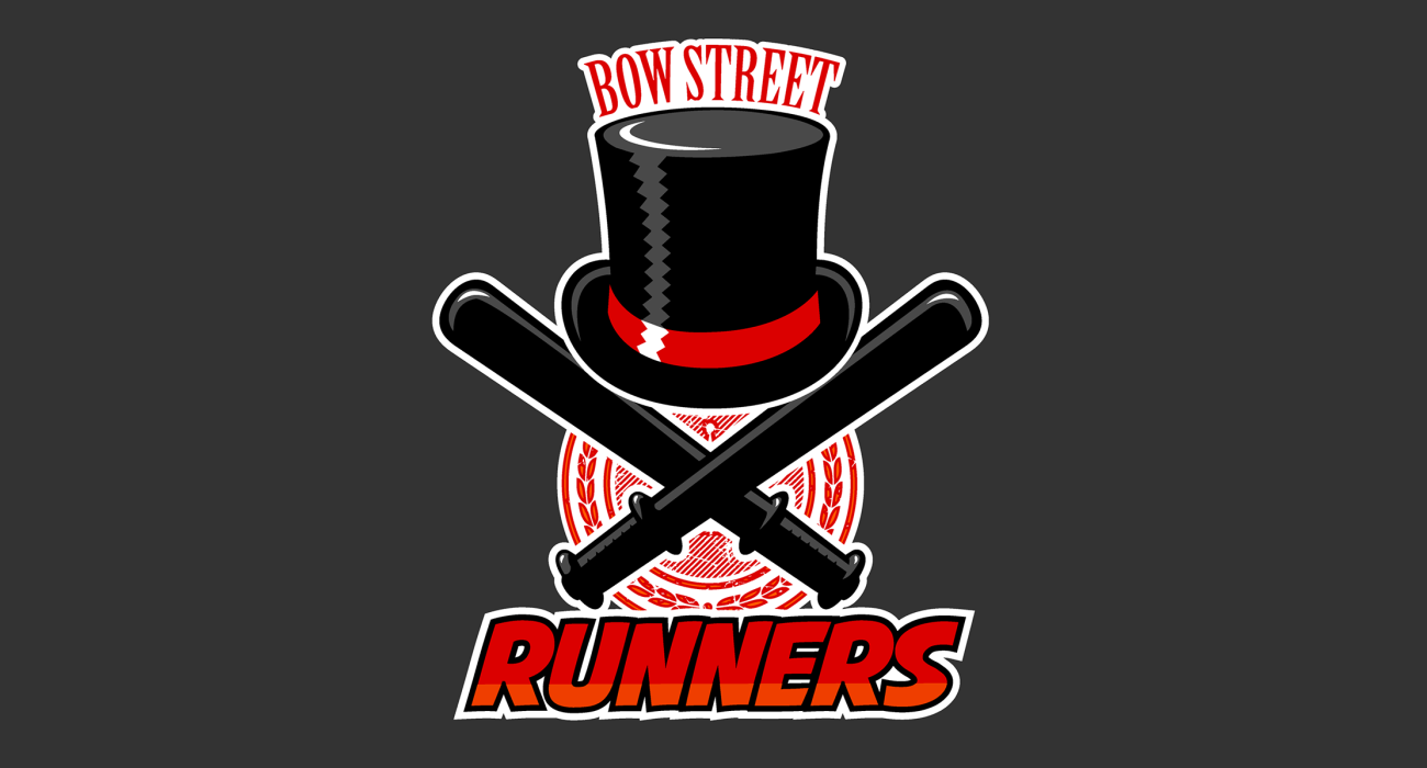 A fake team logo t-shirt featuring  A top hat and a crossed pair of truncheons to represent the Bow Street Runners, London's first professional police force founded by John Fielding in 1754