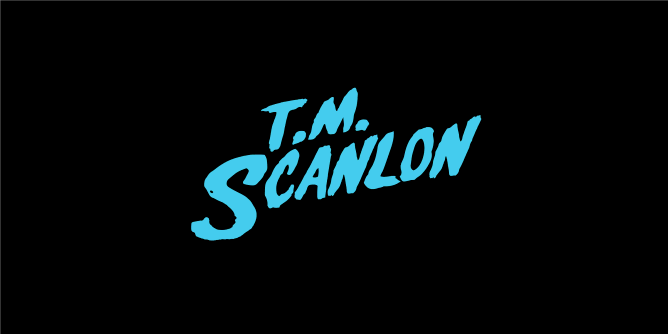 A fake band t-shirt for  T.M. (Tim) Scanlon: Influential American moral philosopher, Harvard professor, and proponent of Contractualism, best known for his works 'What We Owe to Each Other', and 'The Difficulty of Tolerance'.