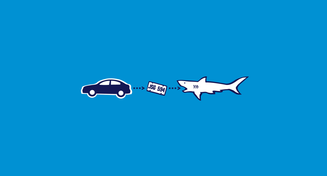 It's like some crazy cycle of life: Japanese auto worker builds compact car, car inevitably loses it license plate to the sea, shark eats license plate deriving all sorts of shark nutrients from its metallic goodness