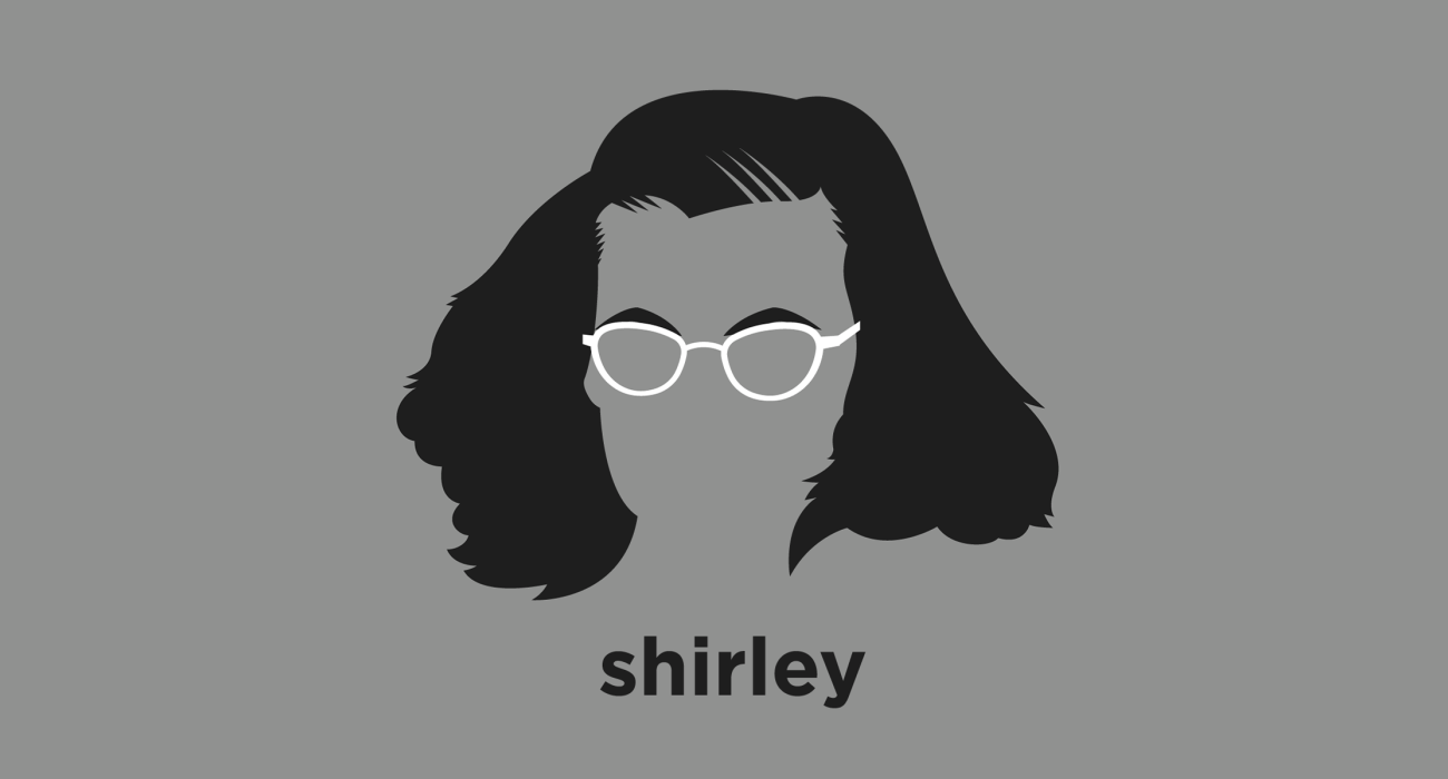 A t-shirt with a minimalist hair based illustration of  Shirley Jackson: Horror writer best known for the The Lottery, which reveals a secret, sinister underside to a bucolic American village, and The Haunting of Hill House, widely considered to be one of the best ghost stories ever written.