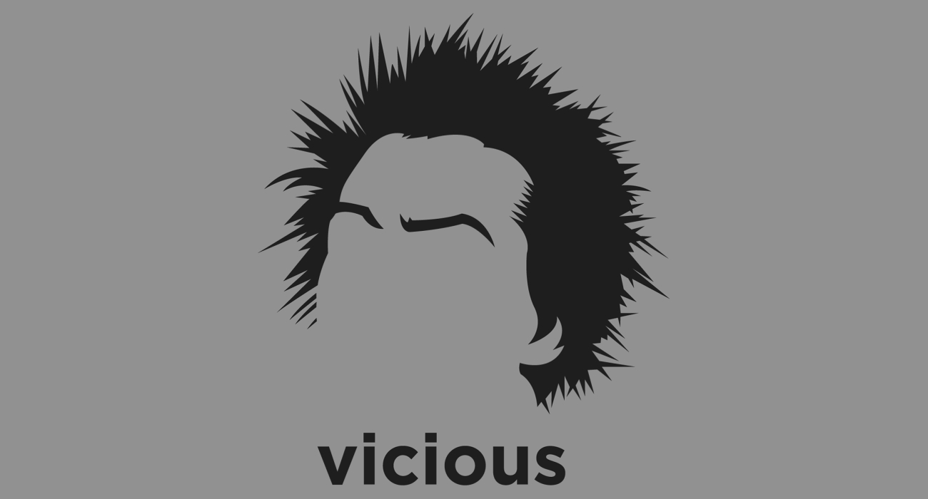 A t-shirt with a minimalist hair based illustration of Sid Vicious: member of the influential punk rock band the Sex Pistols, and notorious for his arrest for the murder of his girlfriend, Nancy Spungen