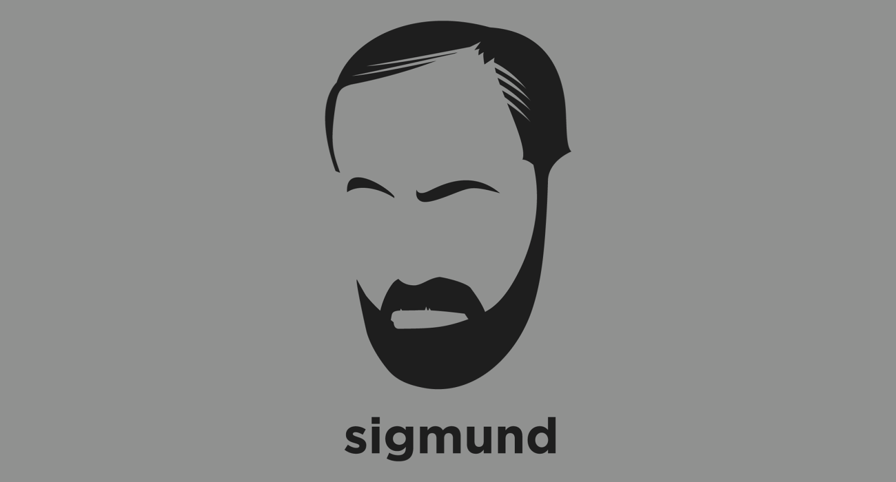 A t-shirt with a minimalist hair based illustration of Sigmund Freud: Austrian neurologist who became known as the founding father of psychoanalysis and popularizer of the primacy of subconscious thought in psychology