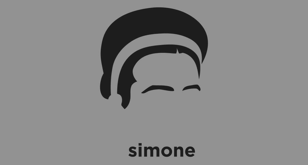 A t-shirt with a minimalist hair based illustration of Simone de Beauvoir: French writer, author of 'The Second Sex', intellectual, existentialist philosopher, political activist, feminist, and social theorist