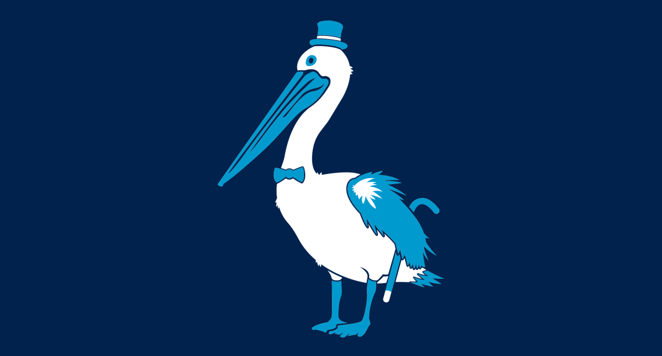 A fancy pants pelican, dressed to the nines and ready for a night out on the town