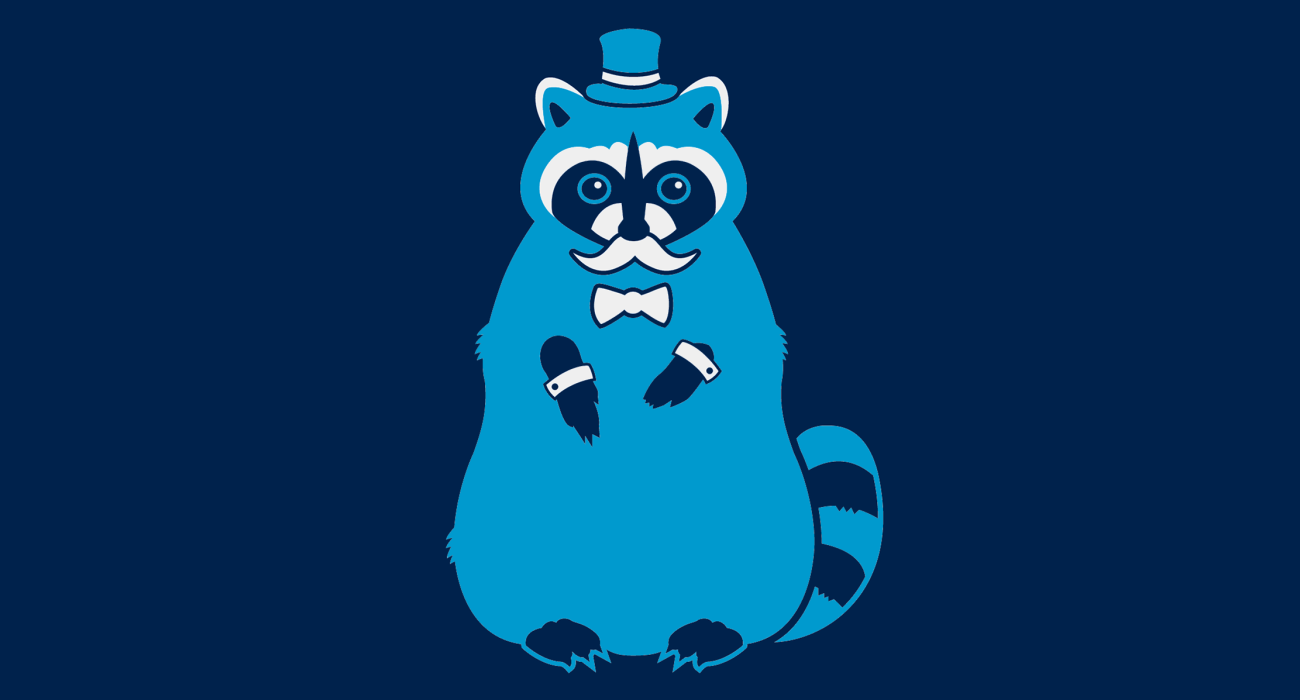 A fancy pants Raccoon wearing a top hat and dressed to the nines, then slathered on a t-shirt