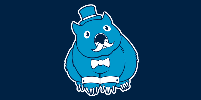 A fancy pants wombat wearing a top hat and dressed to the nines, then slathered on a t-shirt