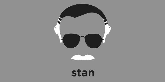 A t-shirt with a minimalist hair based illustration of  Stan Lee: Greetings, True believer! Here before you we have the most magnificent, stunningly spectacular, and gratuitously great comic book creator of all time. Father of many of Marvel's most enduring characters. Excelsior!