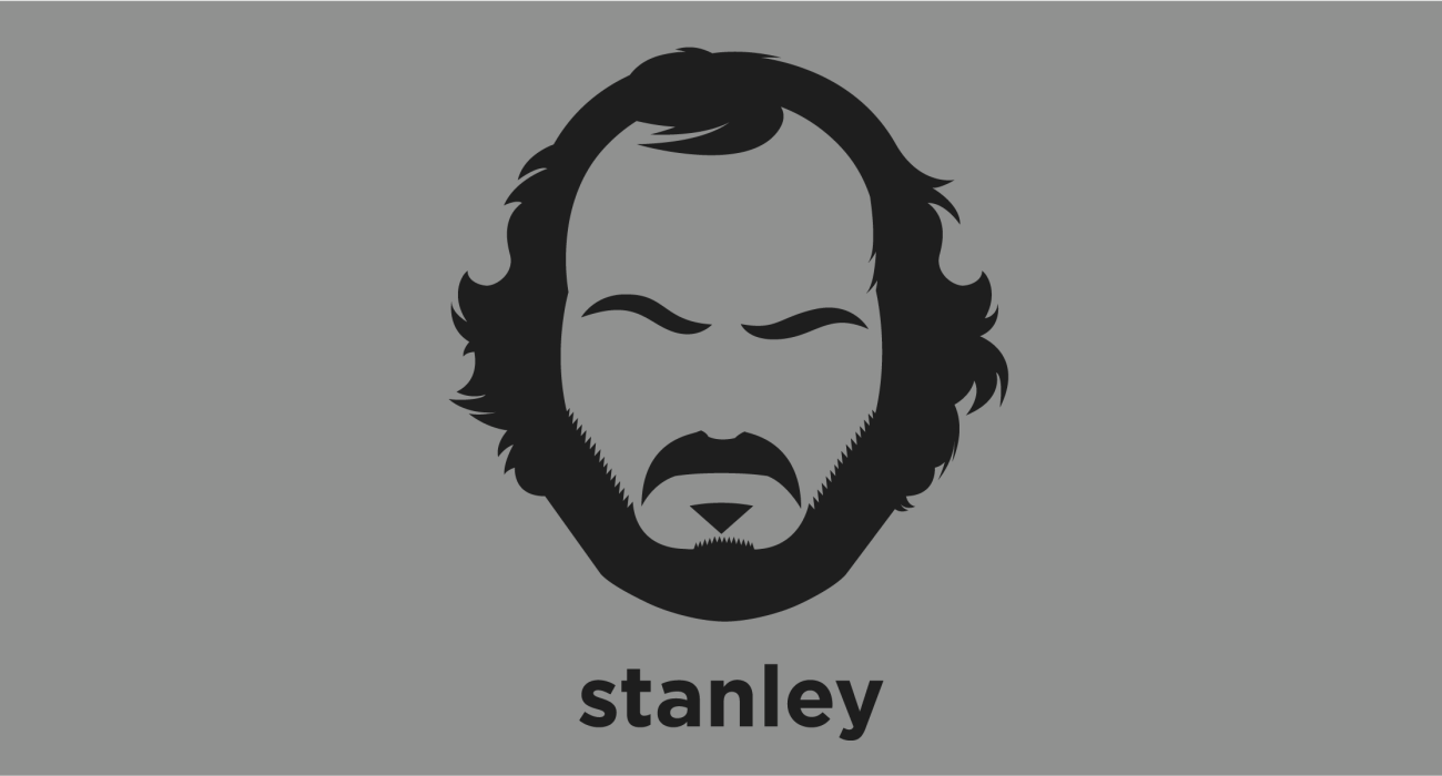 A t-shirt with a minimalist hair based illustration of Stanley Kubrick: Legendary filmmaker frequently cited as one of the greatest and most influential directors in cinematic history. His films are noted for their realism, dark humor, unique cinematography, extensive set designs, and evocative use of music.