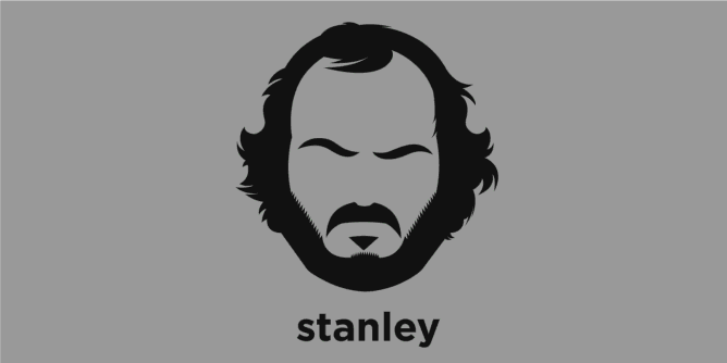 A t-shirt with a minimalist hair based illustration of Stanley Kubrick