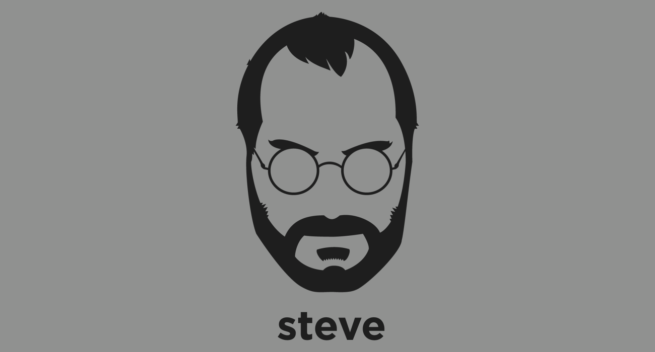 A t-shirt with a minimalist hair based illustration of Steve Jobs: widely recognized as one of the pioneers of the microcomputer revolution of the 1970s and 1980s, best known for his companies Apple Computers and Pixar Films.