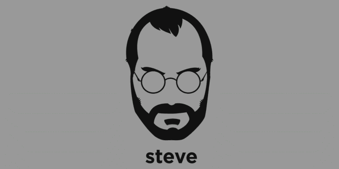 A t-shirt with a minimalist hair based illustration of Steve Jobs