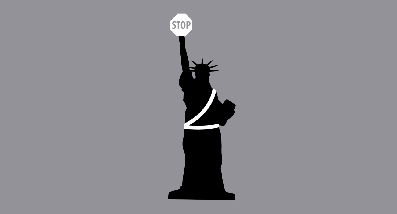 The Statue of Liberty armed in crossing guard gear lifting her 'stop' sign to the heavens. Political commentary!!!