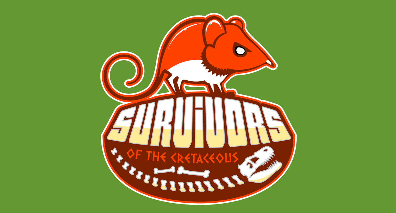 A fake team logo t-shirt featuring  A little proto-rodent, standing over the skeletal remains of a dinosaur following the K-Pg extinction event. You win this geologic era, mammals!