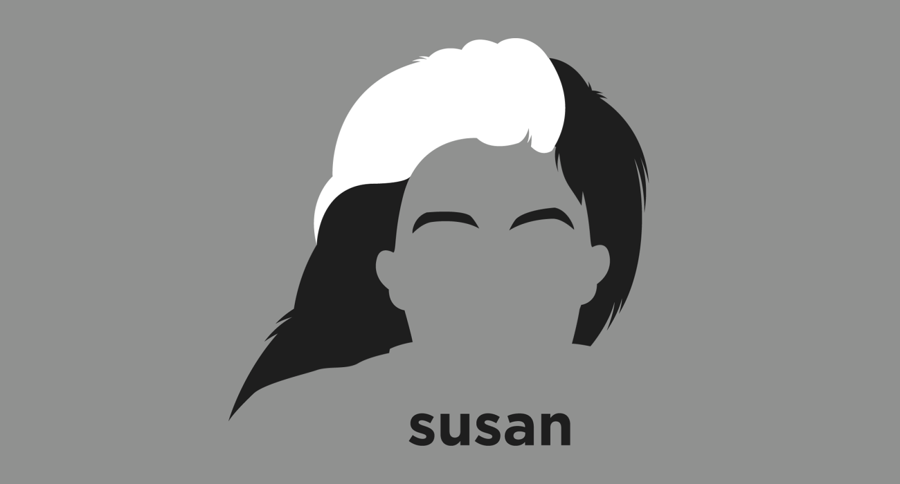 A t-shirt with a minimalist hair based illustration of Susan Sontag: writer and filmmaker, teacher and political activist, best known for her works Notes on 'Camp', On Photography, Against Interpretation, and Illness as Metaphor