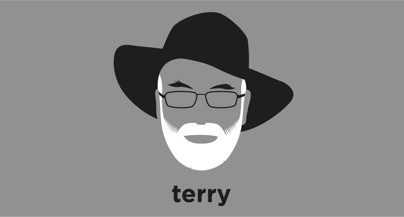 A t-shirt with a minimalist hair based illustration of Sir Terry Pratchett: English author of comical fantasy novels, best known for his Discworld series. One of the UK's best-selling authors he has sold more than 85 million books worldwide.