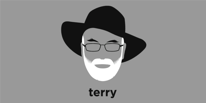 A t-shirt with a minimalist hair based illustration of Terry Pratchett