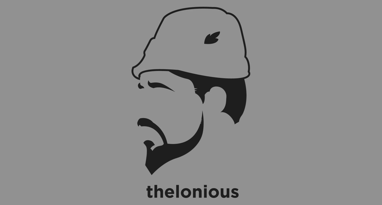 A t-shirt with a minimalist hair based illustration of Thelonious Monk: jazz pianist and composer, considered one of the giants of American music whose unique improvisational style made numerous contributions to the standard jazz repertoire