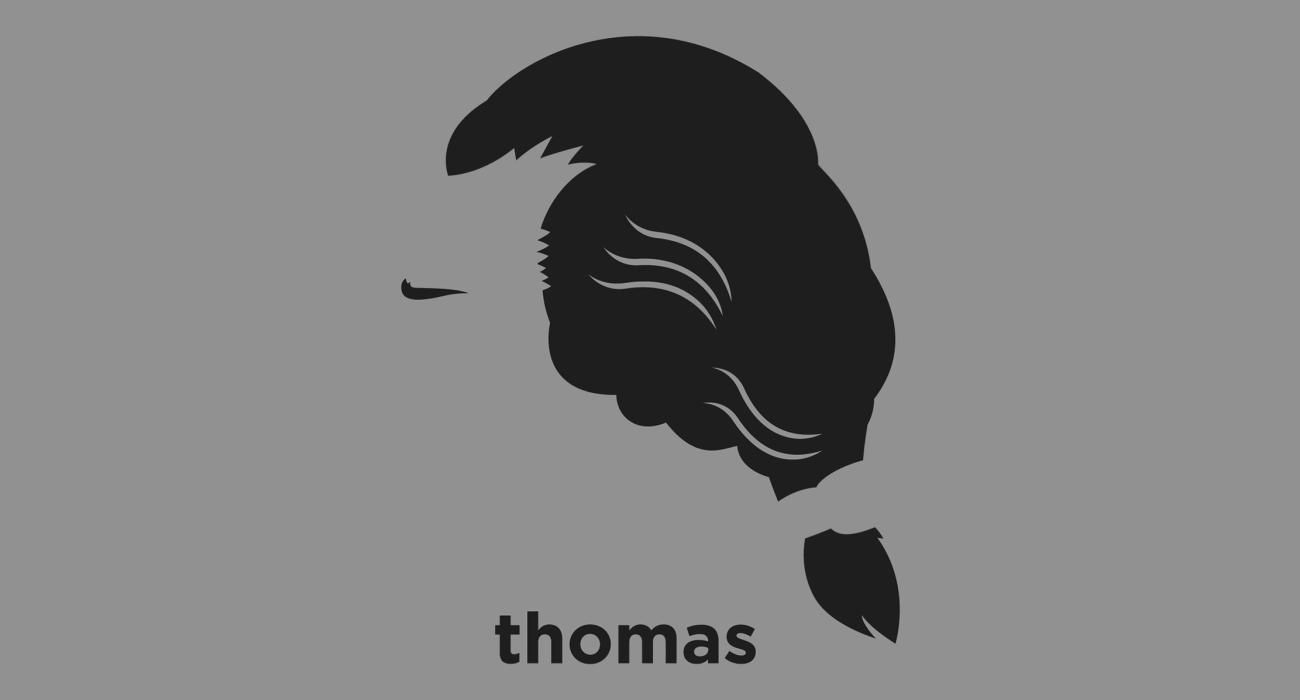 A t-shirt with a minimalist hair based illustration of  Thomas Jefferson: American Founding Father, the principal author of the Declaration of Independence and the third President of the United States