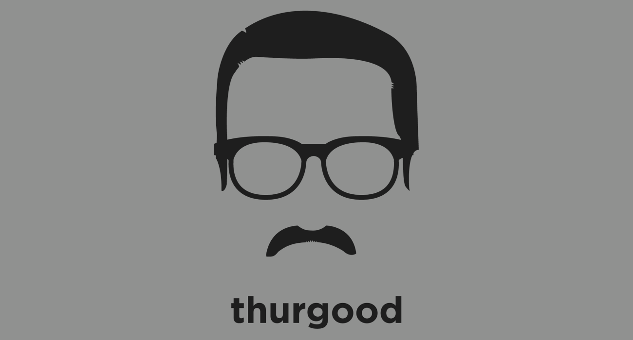 A t-shirt with a minimalist hair based illustration of Thurgood Marshall: Justice of the United States Supreme Court, and its first African American justice who rose to prominence by winning the case of brown vs. board of education as a lawyer