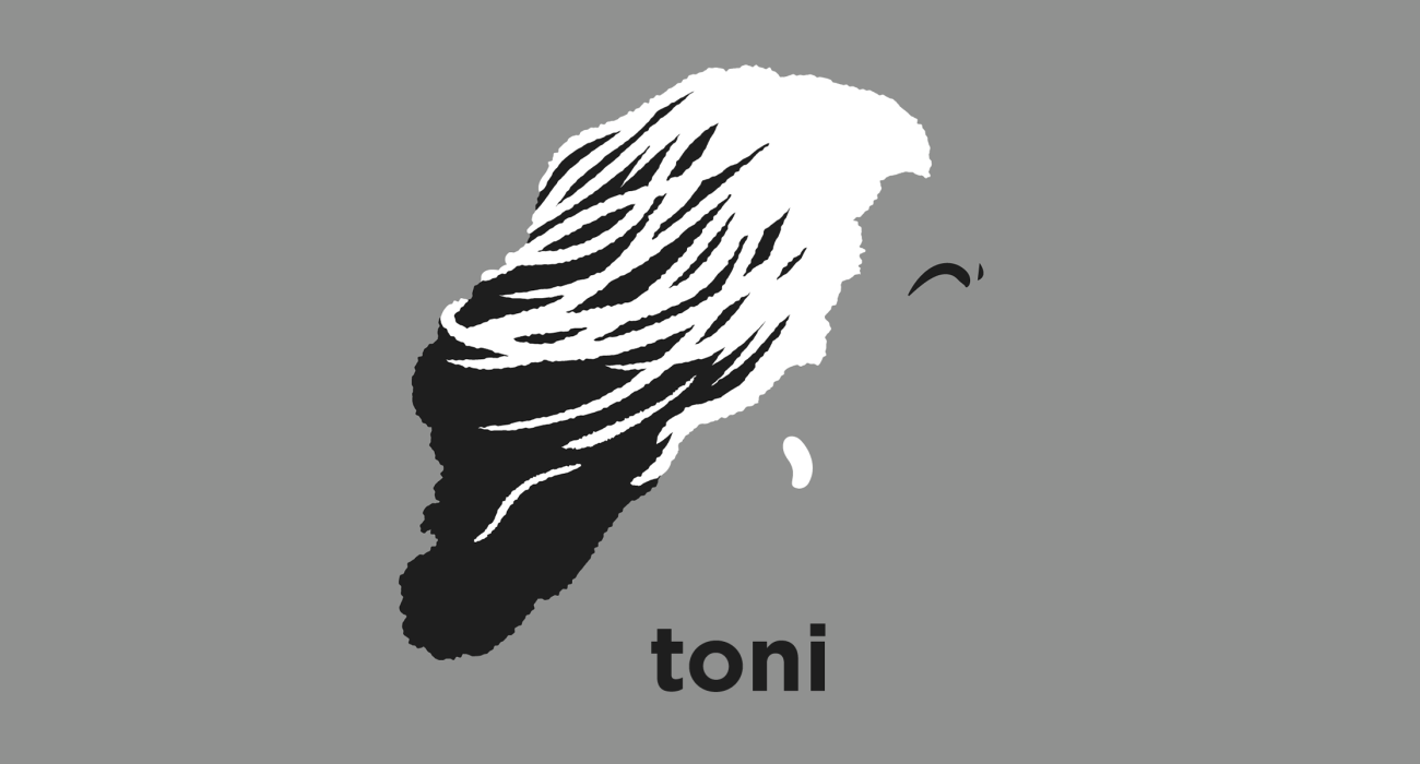 A t-shirt with a minimalist hair based illustration of Toni Morrison: pulitzer prize winning novelist, and recipient of the presidential medal of freedom best known for her novels Sula, Song of Solomon, and Beloved
