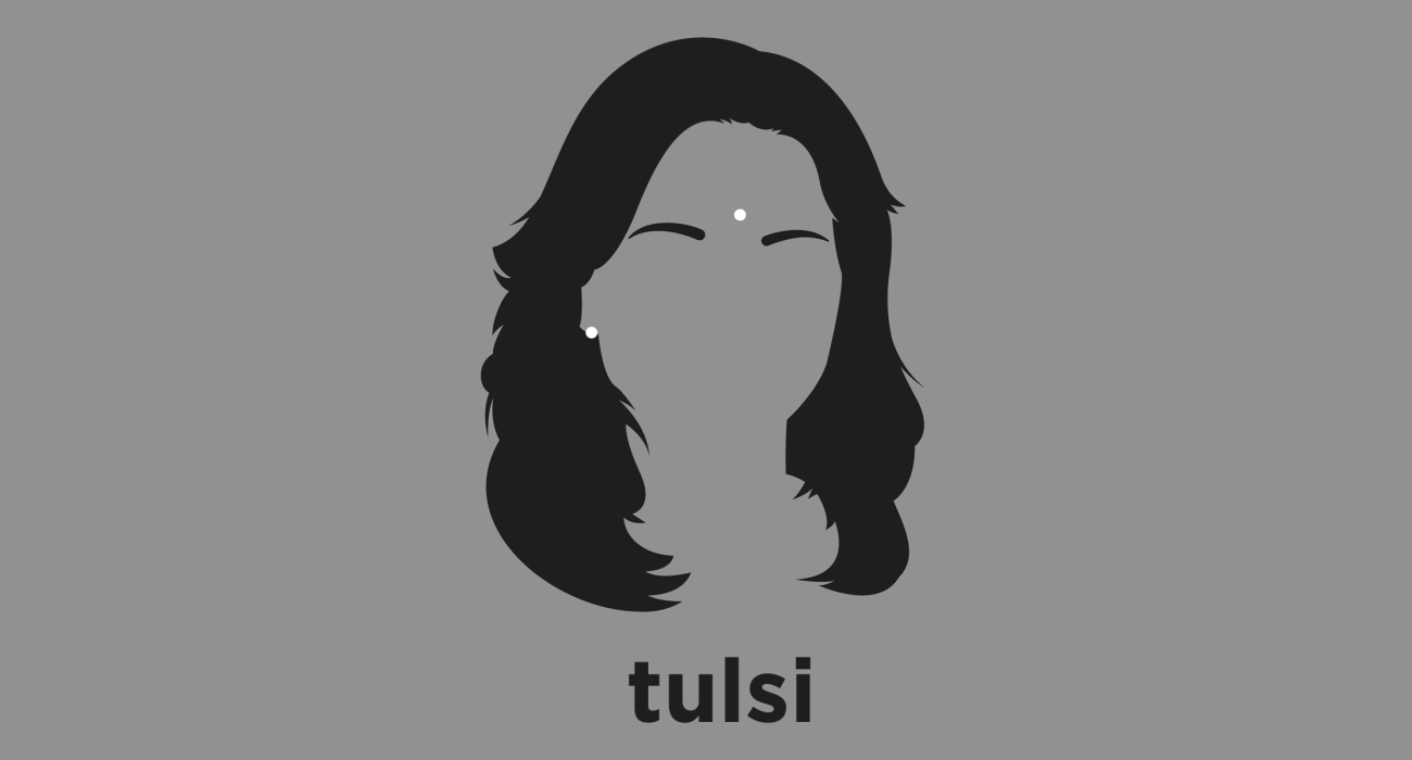 A t-shirt with a minimalist hair based illustration of Tulsi Gabbard: Democratic politician and Iraq War veteran who at age 21 was the youngest woman, the first American Samoan, and the first Hindu elected to the United States Congress.