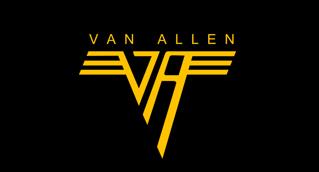 A fake band t-shirt for  James Van Allen: space scientist who was instrumental in establishing the field of magnetospheric research in space and discoverer of the Van Allen belts