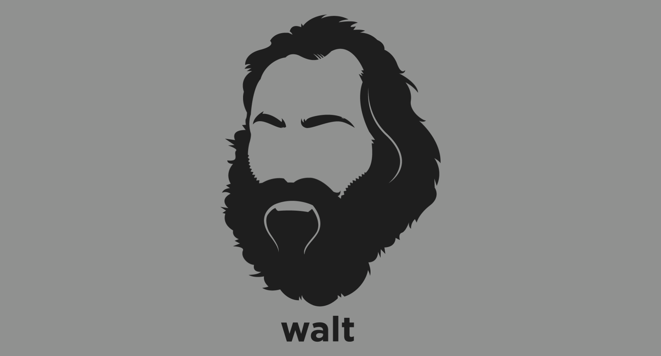A t-shirt with a minimalist hair based illustration of Walter 'Walt' Whitman: author whose work was very controversial in its time, particularly his poetry collection Leaves of Grass, which was described as obscene for its overt sexuality