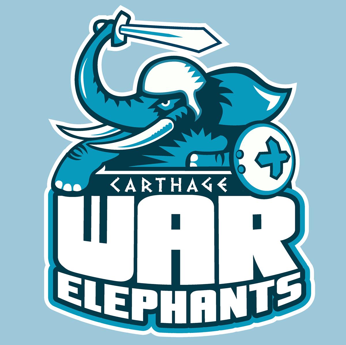 60a0a23a4 A fake team logo t-shirt featuring A mighty War Elephant, sword raised!