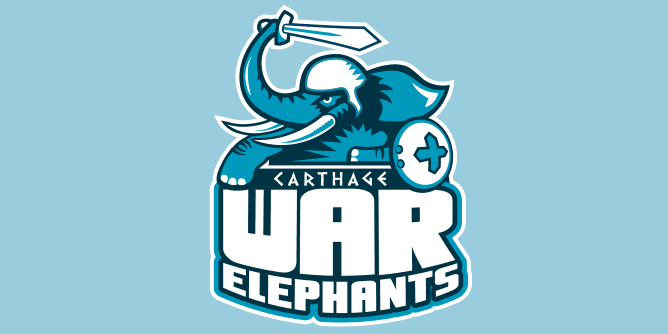 A fake team logo t-shirt featuring  A mighty War Elephant, sword raised! A reference to when that wacky Hannibal crossed the alps and slapped around the Romans in the battle of the Trebia