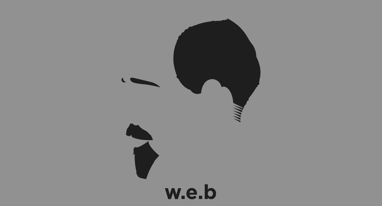 A t-shirt with a minimalist hair based illustration of  William Edward Burghardt 'W. E. B.' Du Bois: was an American sociologist, historian, civil rights activist, Pan-Africanist, author and editor who co-founded the NAACP