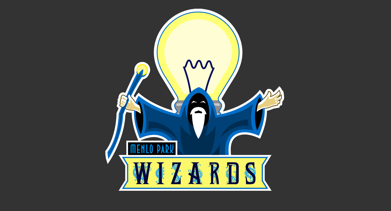 A fake team logo t-shirt featuring  A becloaked wizard standing in front of a giant lightbulb, representing Thomas Edison The Wizard of Menlo Park!