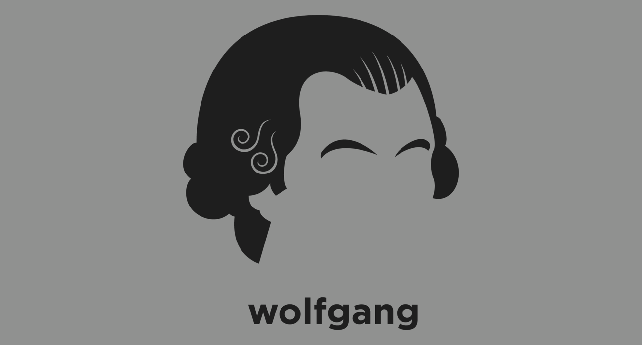 A t-shirt with a minimalist hair based illustration of Wolfgang Amadeus Mozart: prolific and influential composer of the Classical era who composed many of the best-known symphonies, concertos, and operas of the ers