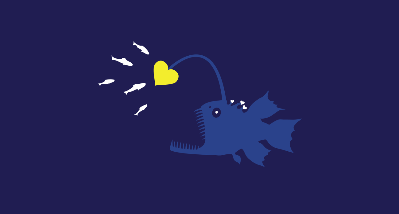 A deep sea fish luring lil' critters with a glowing heart shaped lantern